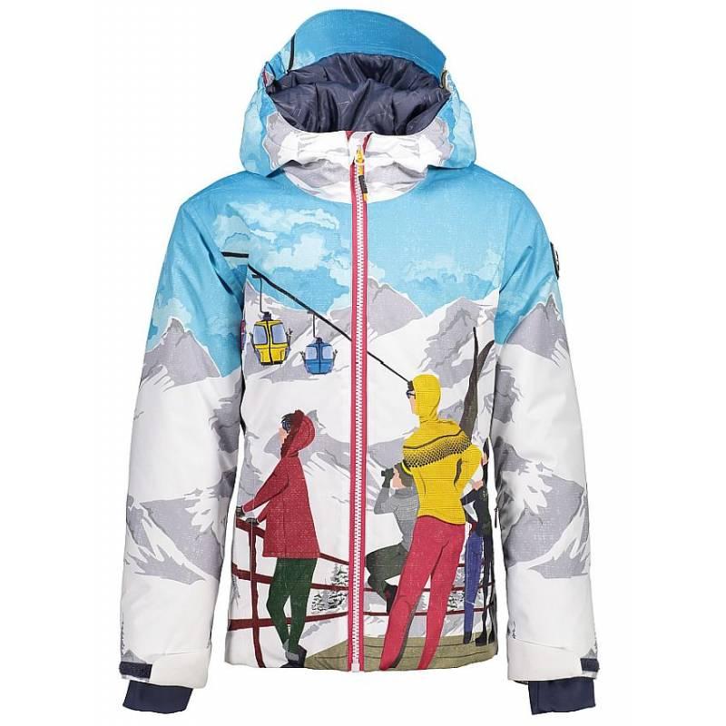 b8a8bd7045ad Dievčenská lyžiarska bunda s kožušinou CMP s horským motívom