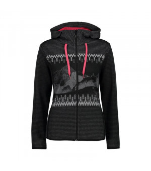 CMP Woman Jacket Fix Hood Mikina 73UD sivá