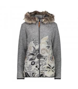 CMP Woman Jacket Fix Hood Mikina U632 sivá