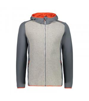 CMP Man Jacket Fix Hood Mikina U423 sivá