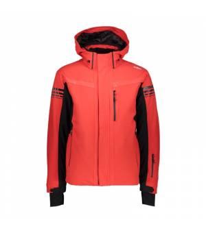 CMP Bunda Man Jacket Zip Hood C580 červená