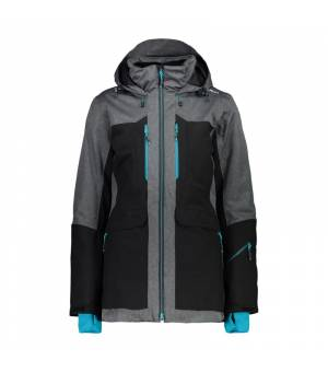 CMP Woman Jacket Long Fix Hood bunda U901 čierna