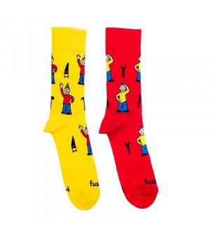 Fusakle Pat a Mat ponožky červené/žlté