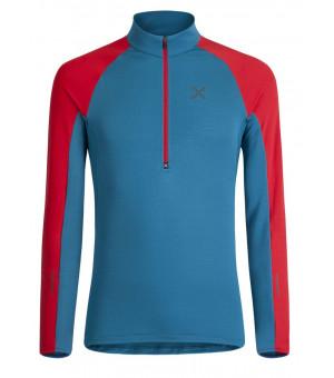 Montura Run Soft Zip Maglia blu ottanio/rosso mikina