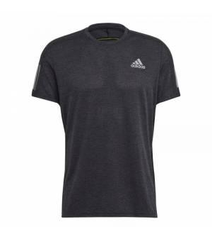 Adidas Own The Run Tee Black Melange/Acid Yellow tričko