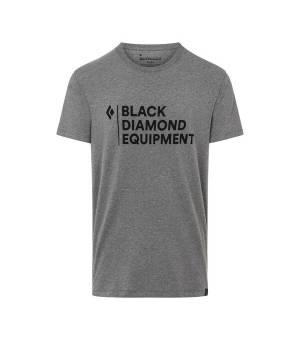 Black DIamond Stacked Logo M Tee charcoal heather tričko