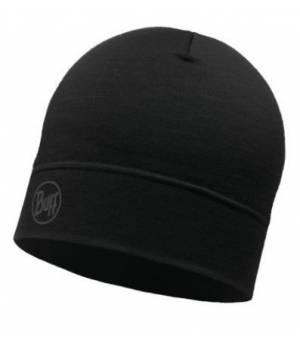 Buff Merino Lightweight Hat Solid Black čiapka