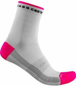 Castelli Rosso Corsa W 11 White/Pink Fluo cyklistické ponožky