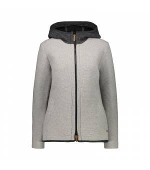 CMP Woman Jacket Fix Hood Grey Mel Bunda