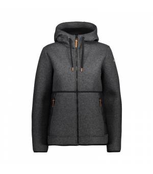 CMP Woman Jacket Fix Hood Carbone Melange – Nero mikina