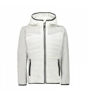 CMP Kid G Jacket Fix Hood Bianco Gesso mikina