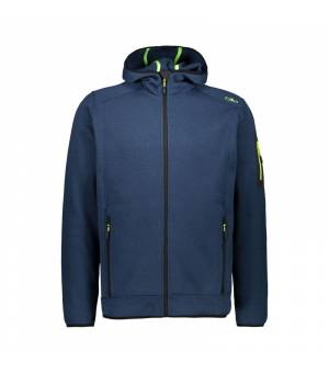 CMP Man Fix Hood Jacket Blue Ink – Yellow Fluo mikina