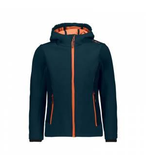 CMP Kid G Fix Hood Jacket Black Blue – Orange Fluo bunda