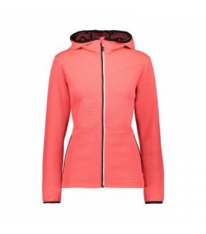 CMP Woman Jacket Fix Hood Red Fluo mikina