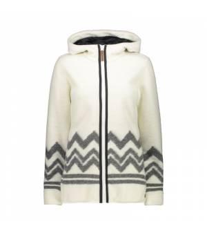 CMP Woman Jacket Fix Hood Bianco Gesso mikina