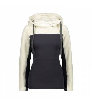 CMP Woman Sweat Fix Hood Bianco Gesso mikina