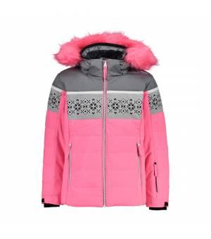 CMP Kid G Jacket Snaps Hood Pink Fluo bunda