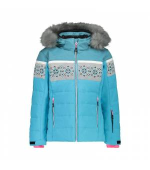 CMP Kid G Jacket Snaps Hood Turchese bunda