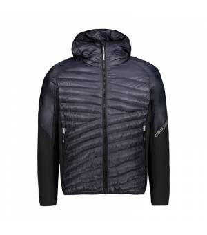 CMP Man Hybrid Jacket Fix Hood Nero bunda