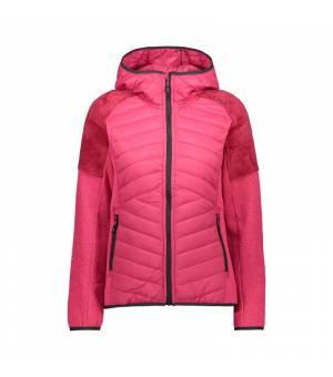 CMP Woman Hybrid Jacket Fix Hood Magenta Mikina