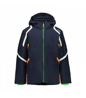 CMP Kid Jacket Snaps Hood Black Blue bunda