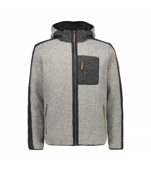 CMP Man Jacket Fix Hood Grey Melange mikina