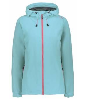 CMP Woman Rain Jacket Fix Hood Bunda L454 Tyrkysová