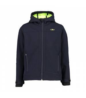 CMP Kid Jacket Fix Hood Black Blue – Yellow Fluo bunda