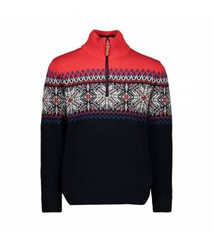 CMP Man Knitted Pullover Black Blue Mikina