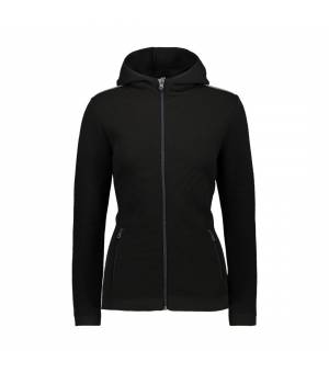 CMP Woman Jacket Fix Hood Knitted PP Nero Mikina