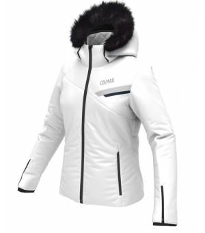 Colmar Granrisa W Ski Jacket+Fur White-Cloud-Blue Black bunda