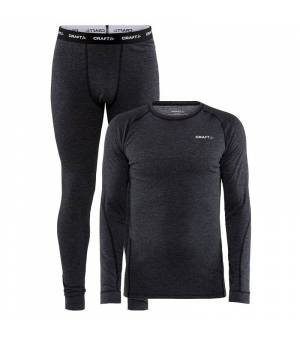 Craft Core Wool Merino M Set Black pánske funkčné termoprádlo