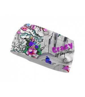 Crazy Idea Sharp Cut Band print tattoo čelenka