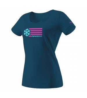 Dynafit Graphic Cotton W T-Shirt petrol/flag tričko