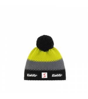 Eisbär Star Pompon MÜ SP Kids cap black grey yellow čiapka