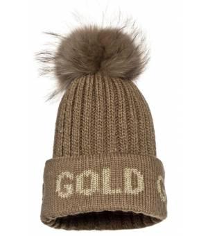 Goldbergh Hodd Beanie Real Raccoon Fur Gold čiapka
