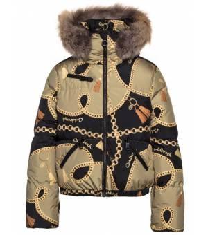 Goldbergh Precious Jacket Real Arctic Raccoon Fur W Chain Gold bunda