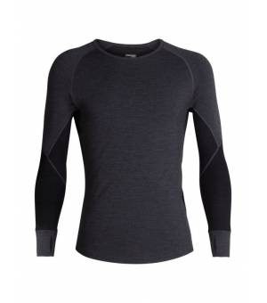 Icebreaker M 260 Zone LS Crewe Thermal Top Jet Heather/Black tričko