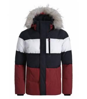 Luhta Jalassaari M Jacket Eco Fur Red Wine Black and White bunda