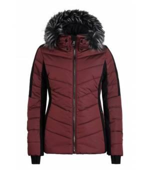 Luhta Emas W Jacket Eco Fur Red Wine bunda