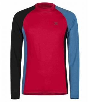 Montura Merino Neck Color M Maglia rosso/blu ottanio tričko