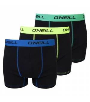 O´neill Men Boxer Plain 3-pack boxerky čierne/farebný pás