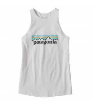 Patagonia Pastel P-6 Logo Organic Cotton High Neck W Tank Top white tielko