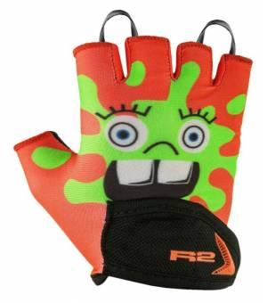 R2 Voska Neon Red/Green cyklistické rukavice
