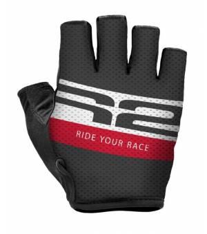 R2 Ride Black/White/Red cyklistické rukavice