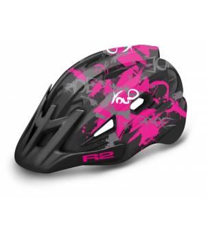 R2 Wheelie Jr. Black/Pink/White cyklistická prilba 2021