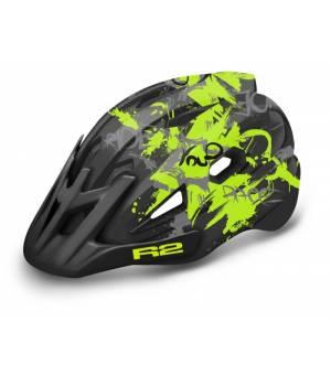 R2 Wheelie Jr. Black/Neon Yellow/Grey cyklistická prilba