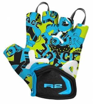 R2 Voska Neon Yellow/Blue/Black cyklistické rukavice