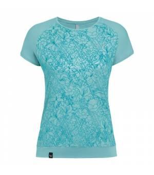 Salewa Pedroc Print Dry S/S W Tee canal blue flower tričko
