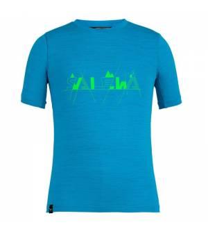 Salewa Graphic Dryton Short Sleeve K T-shirt blue danubde melange tričko
